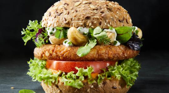 Burger mit Vollkornbrötchen, Salat, Remoulade und knusprigen Hühnchen Patty