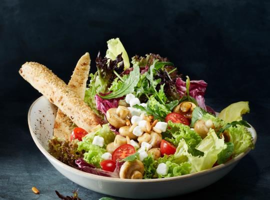 Grüner Salat mit Tomaten, Gurken, Schafskäsewürfeln, Pilzen und Brotstangen